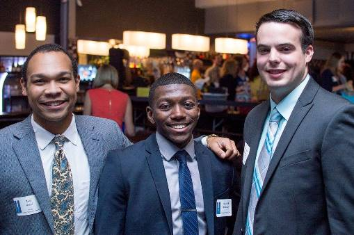 Peak Performer Award Winners Zack Reese (L) and Nick Maxwell (R) chat with PRSSA Liaison Marcene Robinson (C) at the 2016 Excalibur Awards